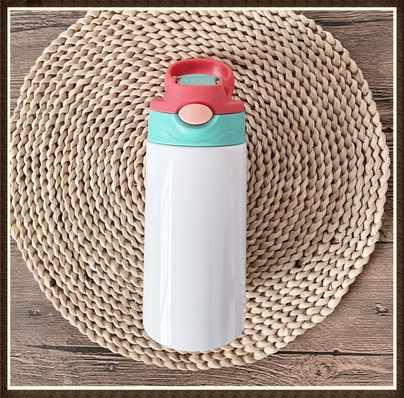12Oz Sublimation Sippy Cup 350ml Sublimation Kinder Wasser Getränke Flaschen Edelstahl Trinken Tumbler Für Kinder 6 Farben Zwei 383 s2