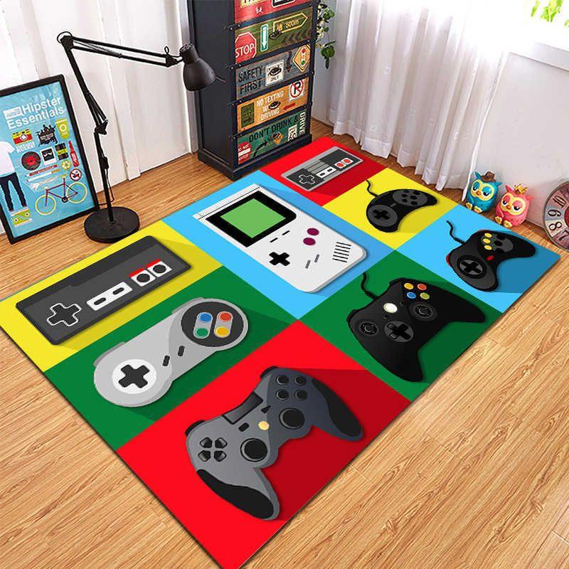 Cartoon Tapete Gamer Area Rugs Anti-Slip Washable Carpets for Living Room Study Bedroom Kid Playing Carpets 100x150cm Room Rug 210301