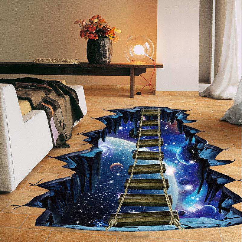 Large 3d Space Sticker Galaxy Star Bridge Decoration for Kids Floor Living Room Wall Decals Home Decor DGDJ AQFR