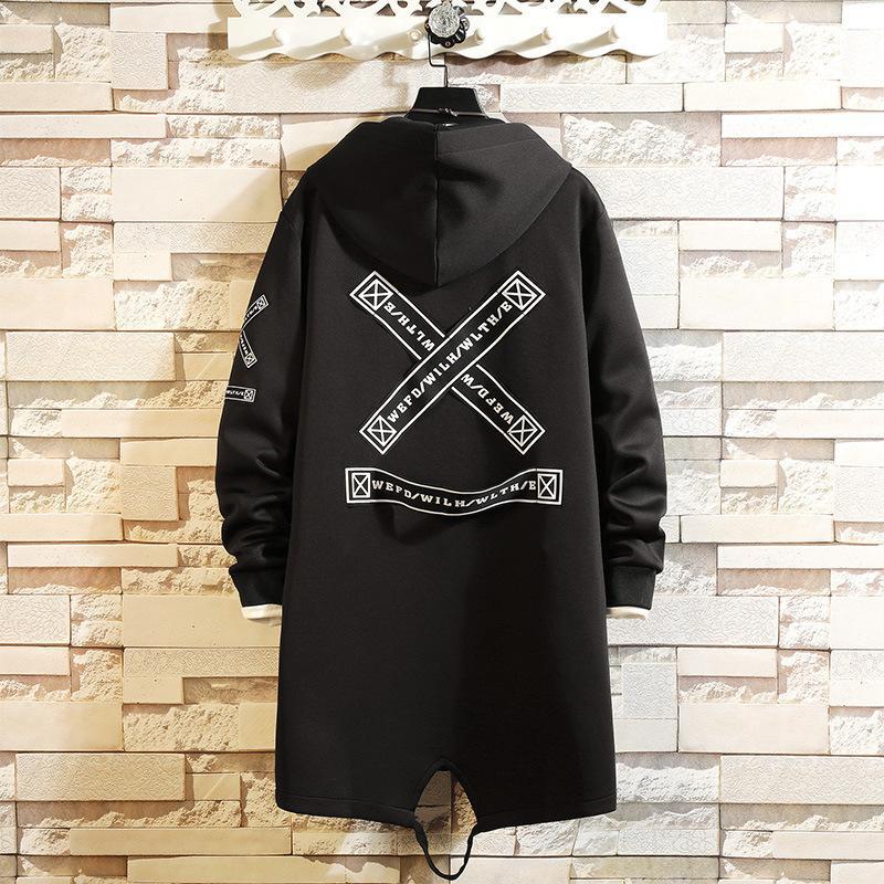 19 Autumn New Youth Korean Loose Casual Medium Length Men's Hooded Jacket Windbreaker Coat