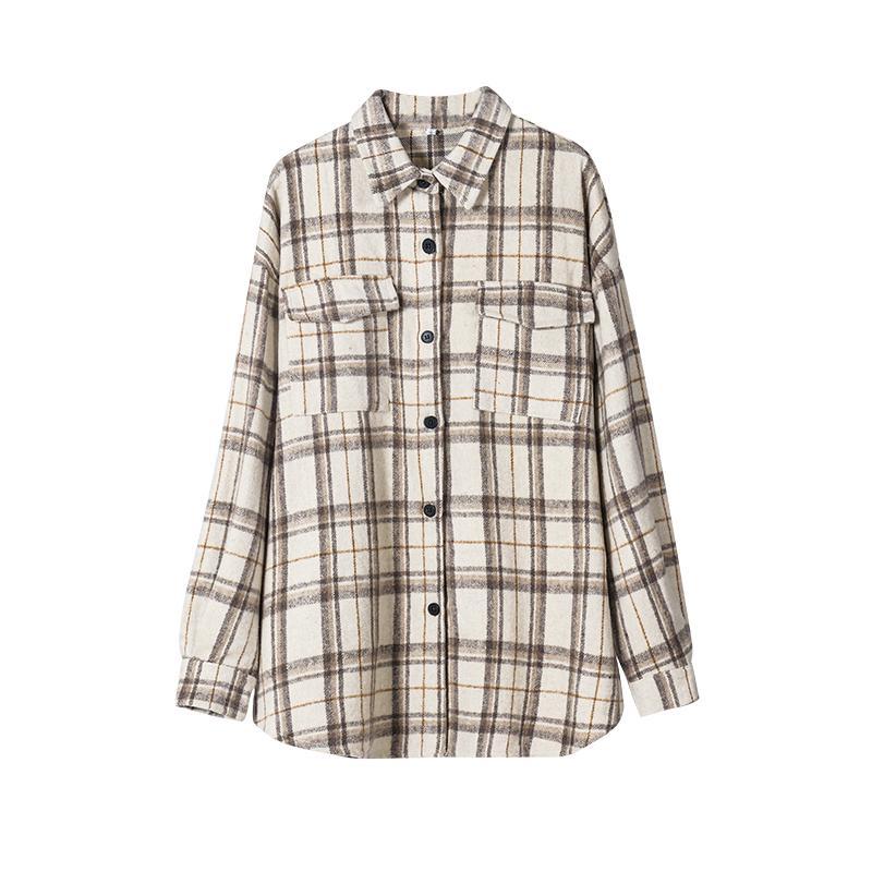 Toppies 2021 Vintage xadrez Camisas Mulheres Oversized Camisas Femininas Blusa Tops Plus Size Roupas Botão de Manga Longa