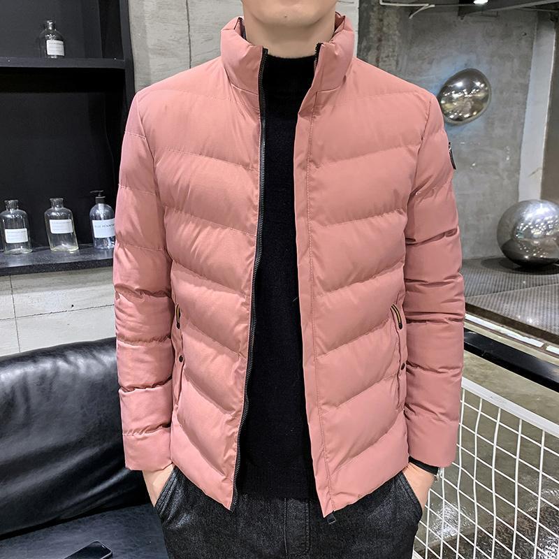남성용 면화 패딩 자켓 가을과 겨울 2021 한국어 서있는 칼라 패션 다운 파카