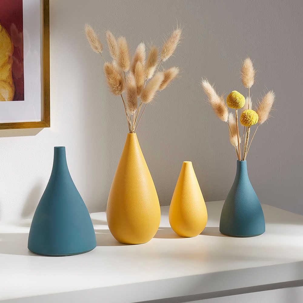 Home Farbe Keramische Vasen, nordische Dekoration, moderne kleine Vasen, Wohnzimmer, weiße Tabelle Vasen J0603