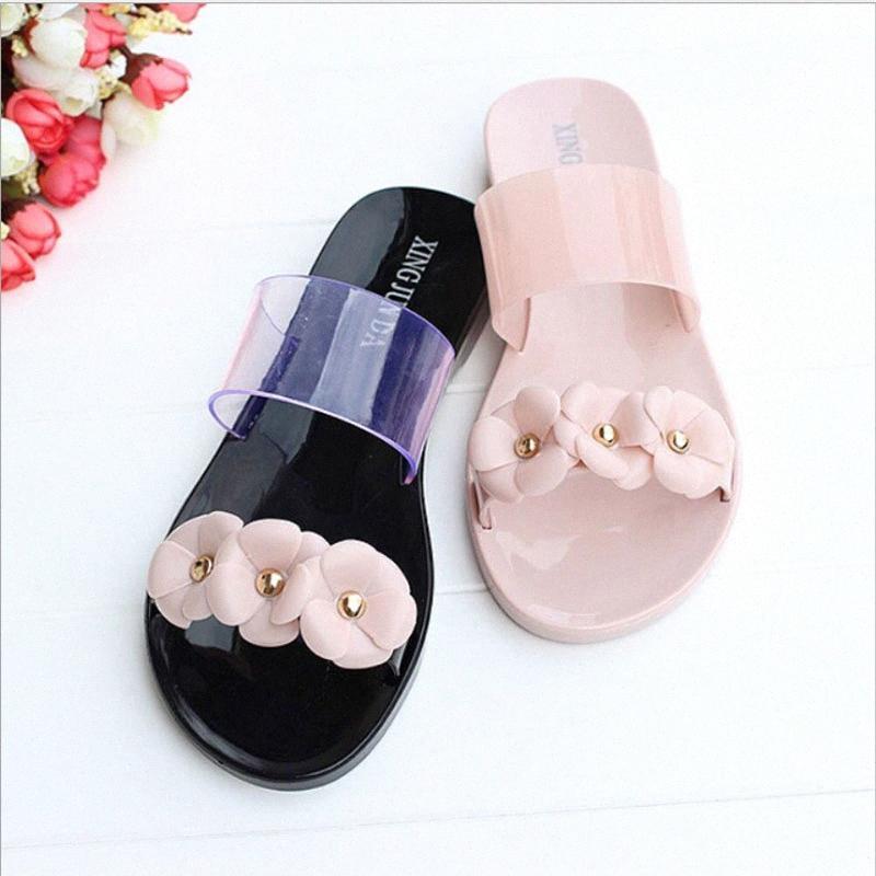 Pantoufles Femmes Transparent avec Fleurs Diamant Chaussures Femmes Chaussures à plat antidérapantes Soft Foot Pool Piscine Chaussures 414o #