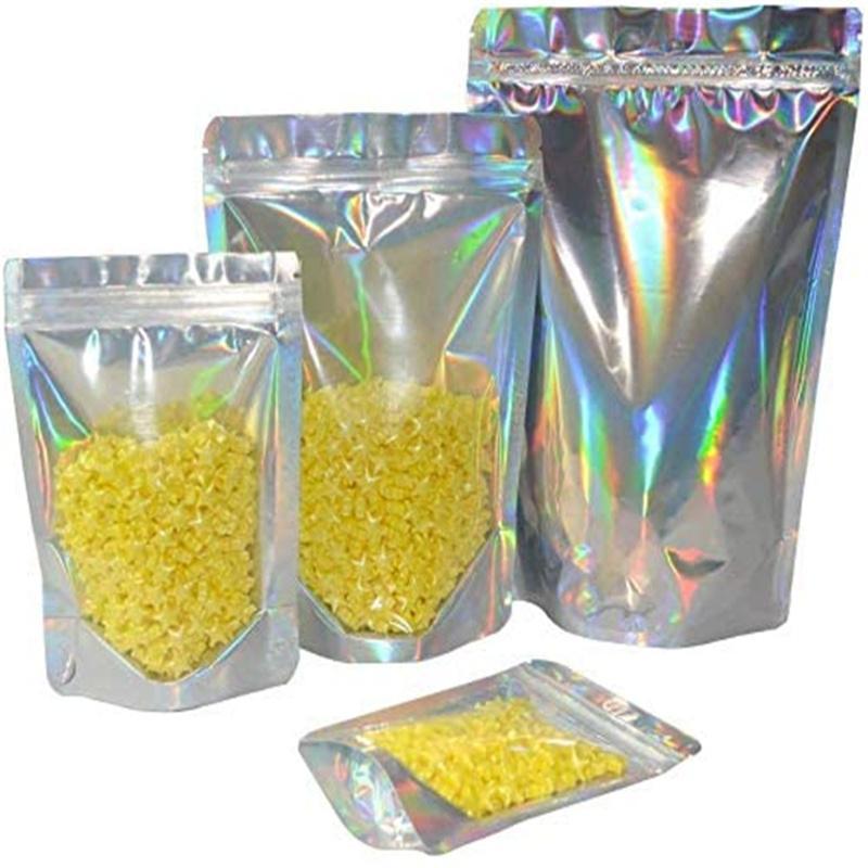 Borse in alluminio con cerniera con cerniera di alluminio stand up standing riutilizzabile odore a prova di cibo sacchetto laser sacchetto di immagazzinaggio plastica