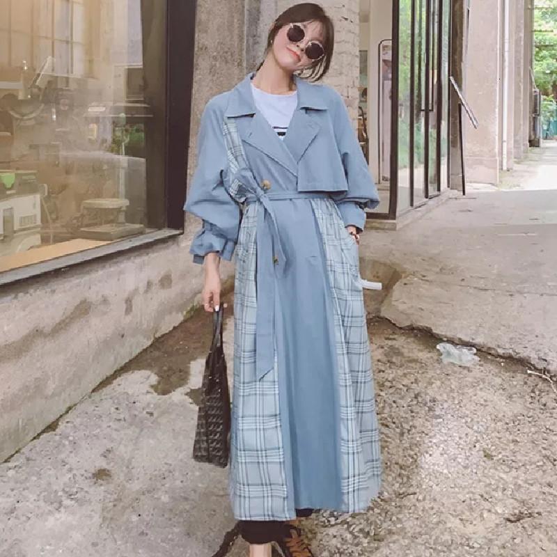 봄 가을 윈드 브레이커 여성 트렌치 코트 디자인 격자 무늬 패션 캐주얼 긴 품질 겉옷 여성 여성용 코트