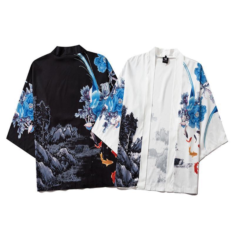 판매 3/4 슬리브 일본식 셔츠 남성 캐주얼 느슨한 전면 시폰 린넨 남성