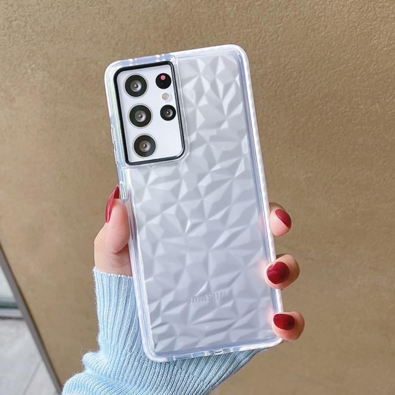 Luxus-Diamantmuster Klare Telefongehäuse für Samsung S10E S21 S20 S10 S8 S8 A70 A50 A71 A51 A31 Anmerkung 20 10 Koffer Weiche TPU-Stoßfänger