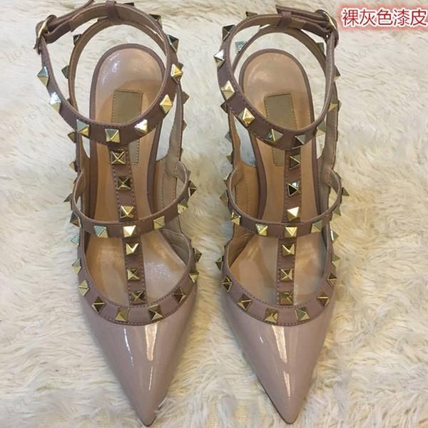 Con scatola) Donne pompe scarpe da sposa donna tacchi alti sandalo nudo moda cinghie caviglia rivetti scarpe sexy tacchi alti scarpe da sposa 35-42