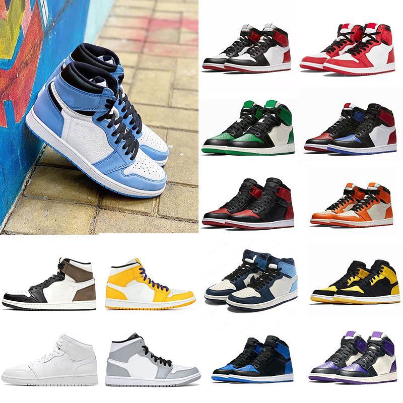 Nike air jordan 1 Basketball Shoes Running shoes roxos 1 alta OG basquete sapatos 1s Real Toe preto rosa judiciais preto verde UNC patentes sapatilhas Eur 36-46