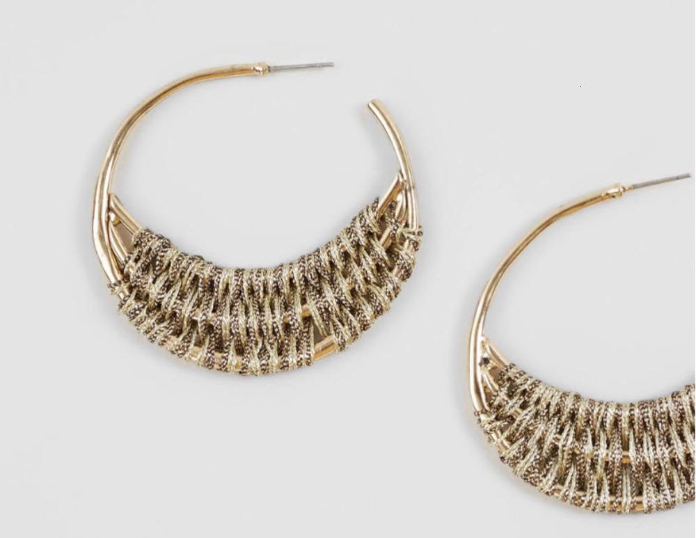 Charmante runde Form Ohrring Goldfarbe mit braunem Lurex-Ohrring für Mädchen und Frauen