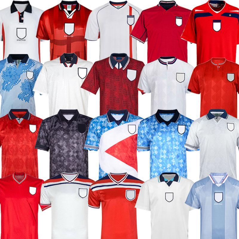 Copa do mundo retrô 2002 England INGLATERRA DE FUTEBOL JERSEY camisa de futebol em casa ROONEY Lampard BECKHAM OWEN 1982 KEEGAN McDERMOTT Shearer 1998 kits