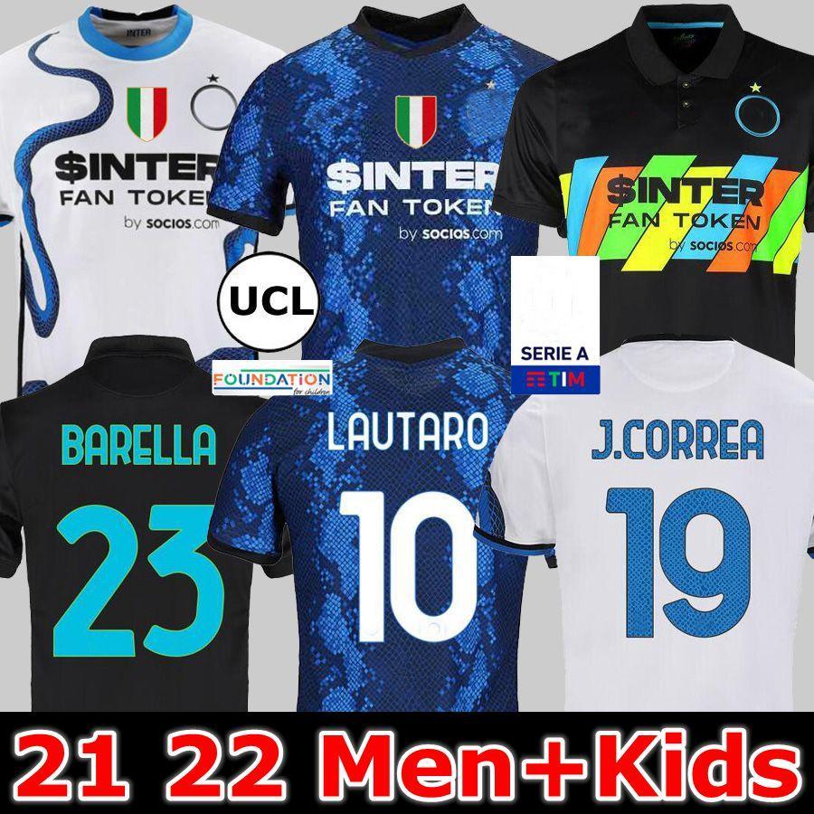 Inter Jerseys Vidal Barella Milán Lautaro Eriksen 21 22 Camisa de fútbol de fútbol 2021 Uniformes Hombres e hijos Ausentes Cuarto Dzeko Sensi Skriniar Dumfries Joaquin Correa