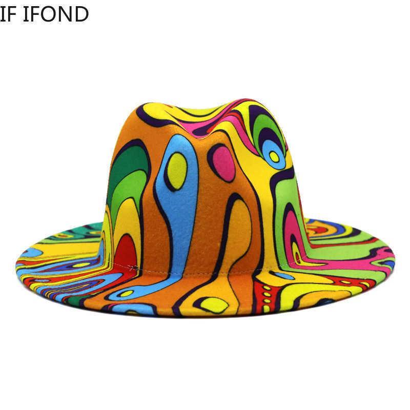 Clowndruckfeder est design fedora hut panama jazz kappen frauen männer wolle breiter rand trilby fühlte hüte 210623