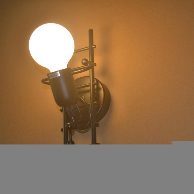인간형 창조적 인 벽 빛 실내 램프 현대 sconce 아트 장식 철 E27베이스 침실 어린이 방 주방