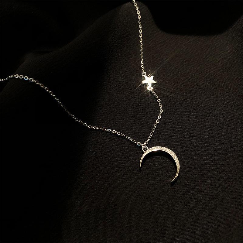 Romantische Nette Koreanische Neckalce Für Frauen Handgemachte Mond Sterne Aussage S925 Silber Halskette Großhandel Datum Geschenk Schmuckschmuck Zubehör Chokers