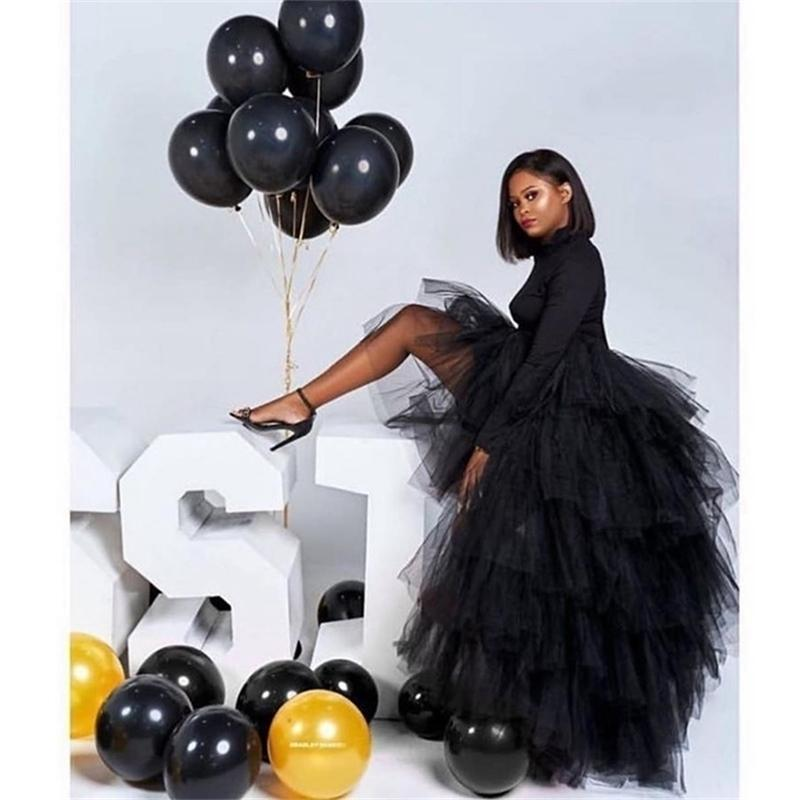 Chic Black Puffy Hi Low Tutu Party Skirt High Low Tulle Skirt Layered Women Long Skirt for Prom Custom Made 210408