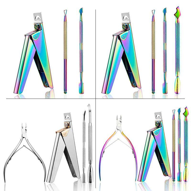 الجمال سبا 5 قطع مانيكير مجموعة أدوات ملونة الفولاذ المقاوم للصدأ بشرة انشطة مقص مسمار الفن أداة
