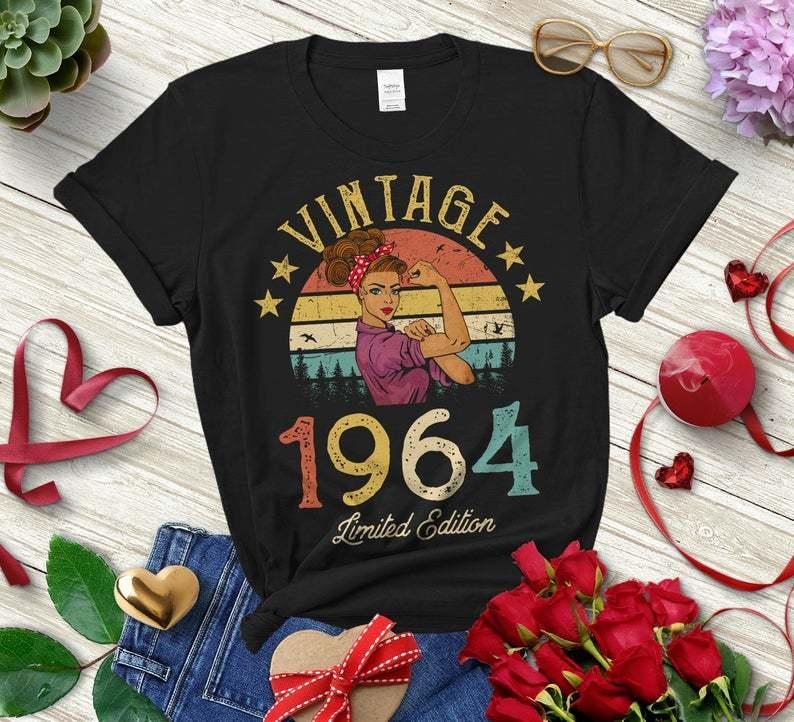 Vintage 1964 Édition limitée Retro Femme Chemise Funny 57e Anniversaire Impression Colore 100% coton Top Top Tees O Col Unisexe Vêtements