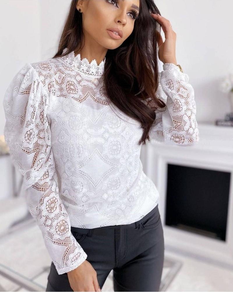 Bluse shirts frauen o neck mode büro dame schwarz weiß hemd tops aushöhlen sehen durch sexy spitze blusen frauen