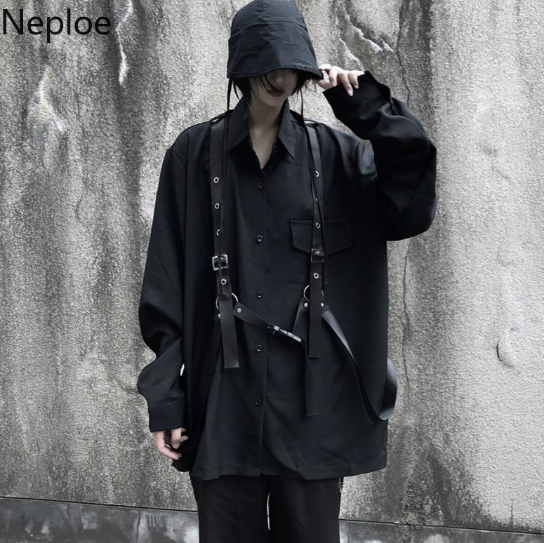 NAPOE Vintage Uzun Kollu Siyah Bluz Harajuku Kadın Erkek Gömlek Sonbahar Kore Bandaj Blusas Orta-Uzun Tops Coat 55503 201202