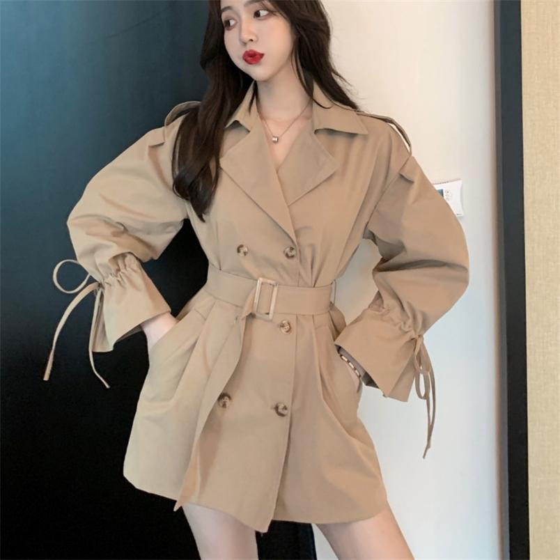 Alta qualità Autunno Casual Casual Donne Trench Coat Belt Bel Breasted Fashion Allent All-Match Venerbreaker Outwear 210514