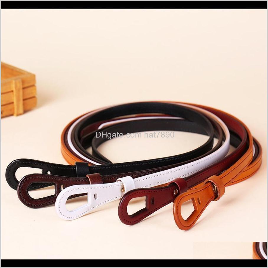 أحزمة شهية الأزياء AESSORITOP ديكور معقود طبقة مستقيم طبقة بقرة حزام، جلدية حزام تنورة رقيقة، بسيط وتنوع 01g6 قطرة د