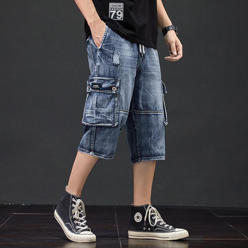 Calças de brim dos homens Carga de estilo masculino 3/4 Homens Buraco Bolsos Laterais Calecas Jean Destruído Calças De Verão Desestressed Shorts