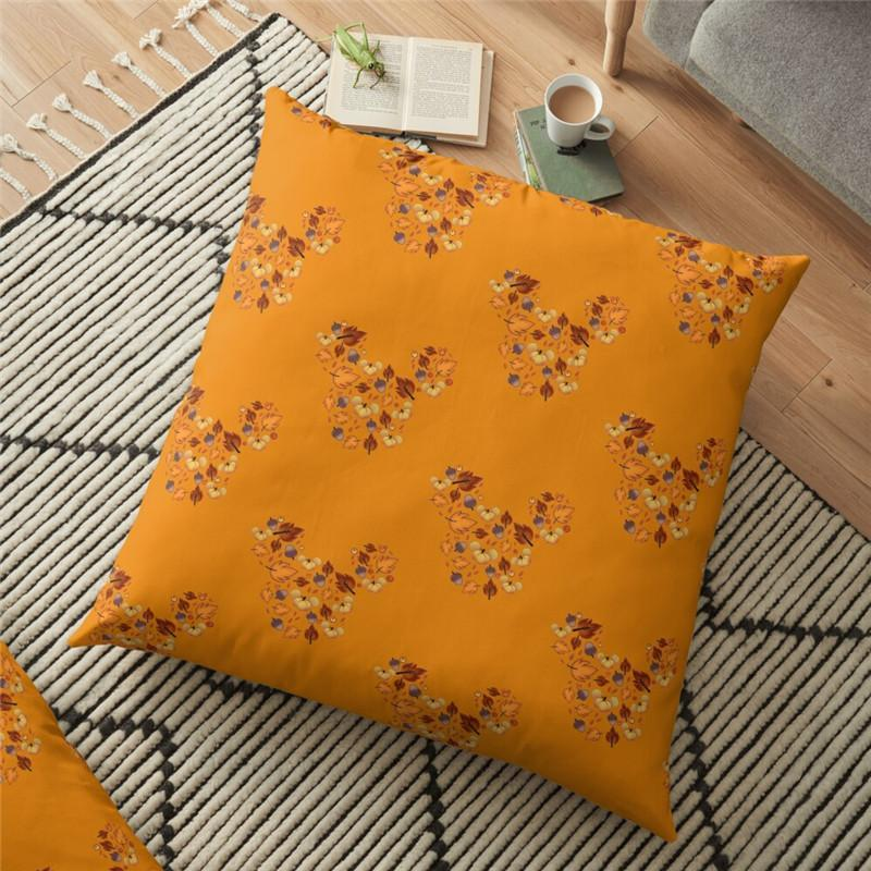 Cushion/Decorative Pillow Funny Fall Mouse Orange Printed Cushion Cover Interesting Halloween 45*45cm Throw Case Decorative For Home