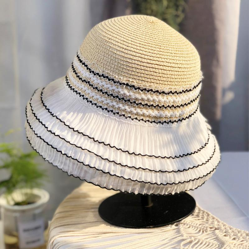 Multi Capa Black Lace Sunhats Ins busca de las niñas al aire libre Sombreros solares Sombreros de la moda sombrero de sombrero de sombrero