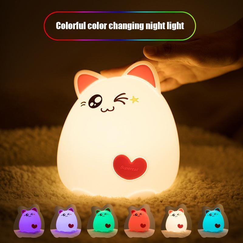 Gece Işıkları Sevimli Kedi LED Işık USB Şarj Silikon Karikatür Uzaktan Kumanda Masa Lambaları Bebek Lambası Çocuk Yatak Odası Dekorasyon Hediye