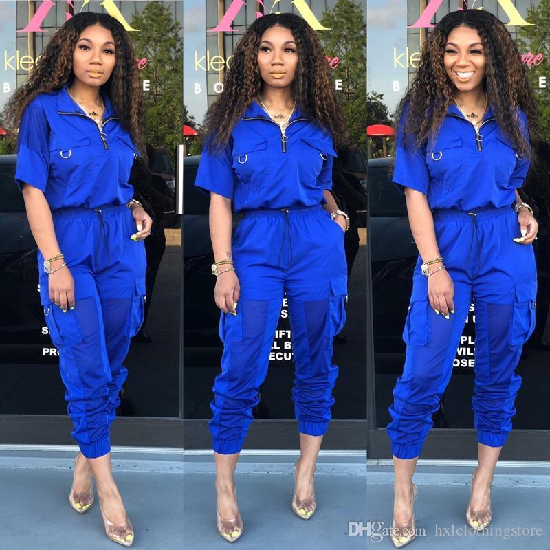 2020 heiße Frauen 2 Stück Set Pullover Revers Hals 1/2 Hülse Reißverschluss T-shirt Leggings Hosen Täfelte Sheer Grenadine Sommer Kleidung