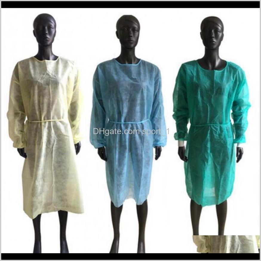 Vestidos de protección no tejidos Desechables PP aislamiento protector Ropa anti-polvo Ropa de trabajo delantales OOA8182 M0NNG 4XB8D