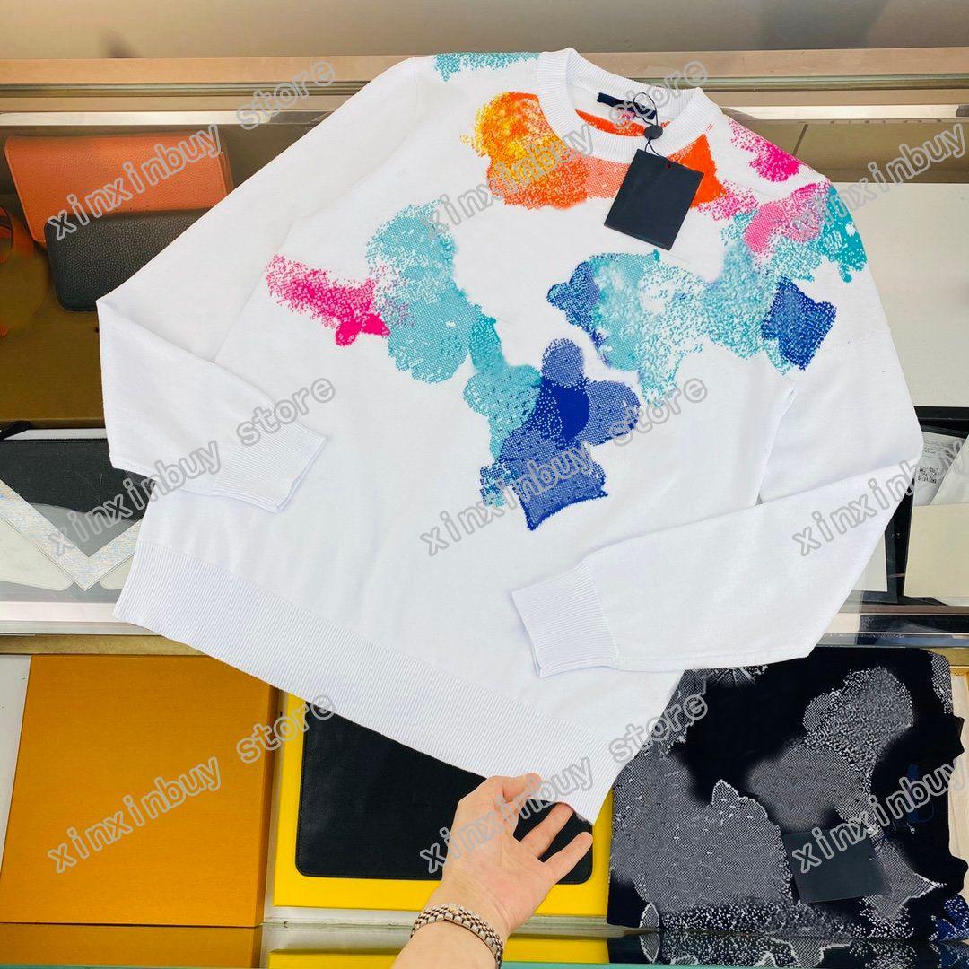 21SS Designer Maglioni Luxury Mens Womens Acqua Colore Jacquard Lettere Uomo Paris Moda Tee Top Quality Tees Street Manica lunga Lussurys Black White Xinxin