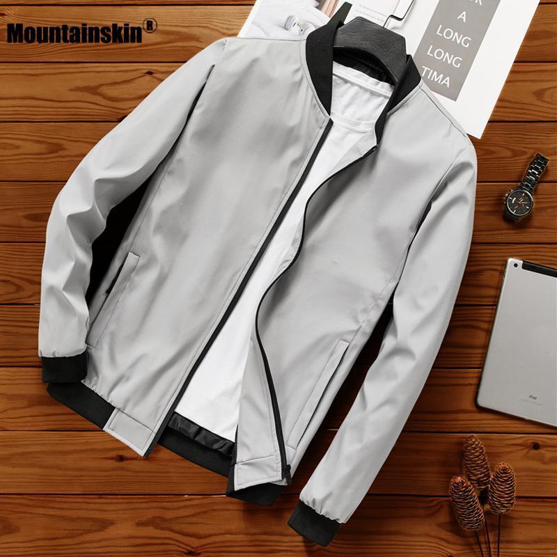 Jaquetas dos homens Mountainskin Men Jaqueta Casual Casacos Primavera Outono Bomber Slim Moda Casaco Brand Outerwear Vestuário UE Tamanho MT170