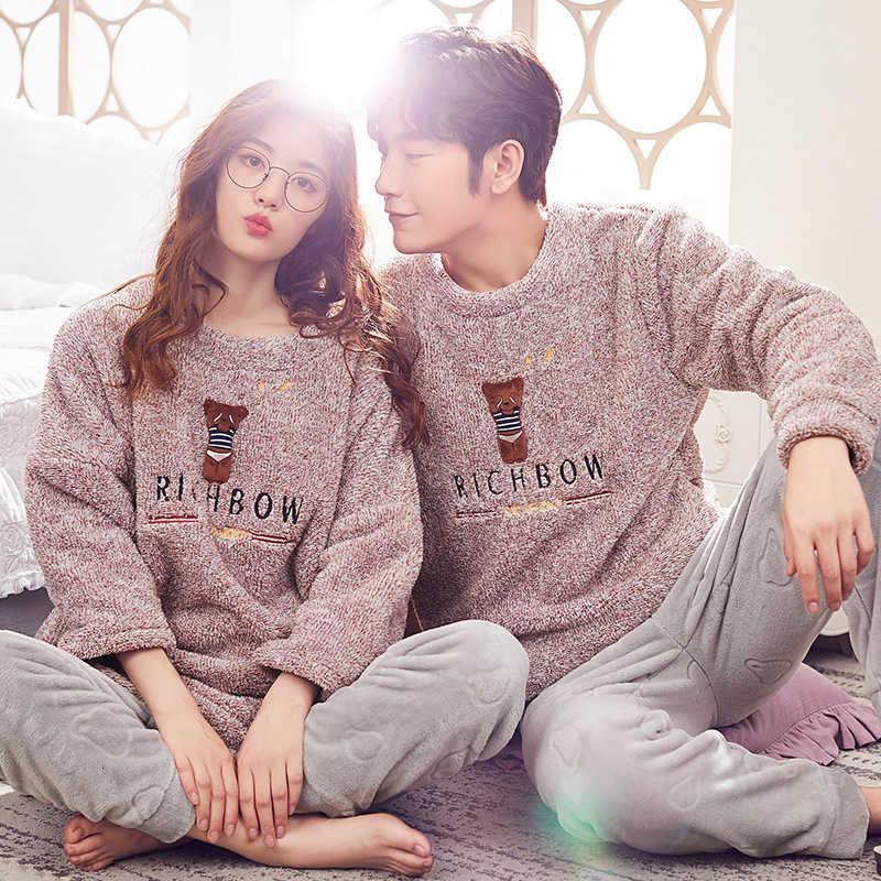 Pijamas mujeres otoño y ropa de dormir amantes engrosados franela hombres manga larga pantalones coral ue ocio traje de casa invierno