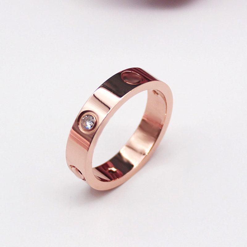 Classic Design Women Lover screw Ring 3 Colors with CZ diamond titanium Steel Couple Rings Fashion lady Jewelry Wholesale