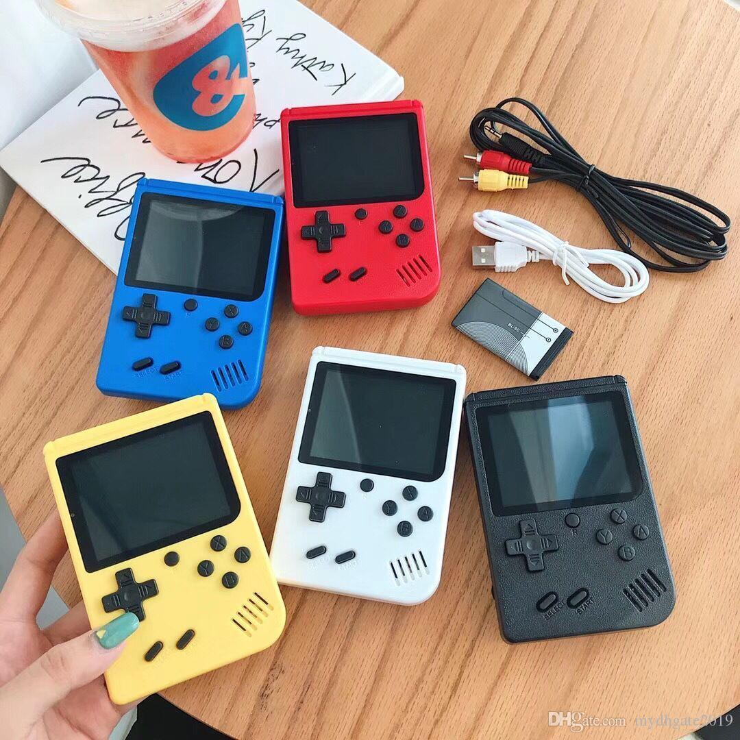 مصغرة الرجعية المحمولة لعبة اللاعبين المحمولة وحدة التحكم فيديو يمكن تخزين 400 سوب الألعاب 8 بت lcd الملونة