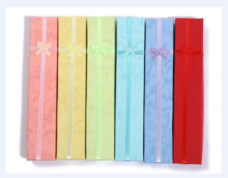 12 pçs / lote mistura cores jóias colar caixas de embalagem display para fashion artesanato presente 20x4x2cm bx8
