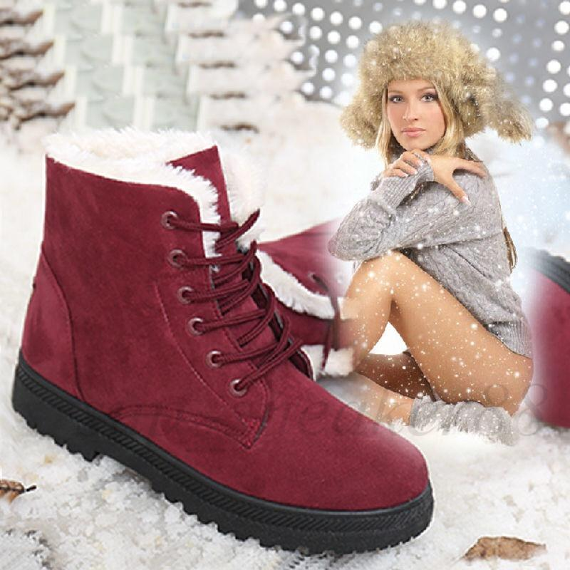 S Botas de tobillo de invierno para mujeres Zapatos de inviernos Botas de nieve femenina Botas de Botas MUJER CALIENTE 35-44