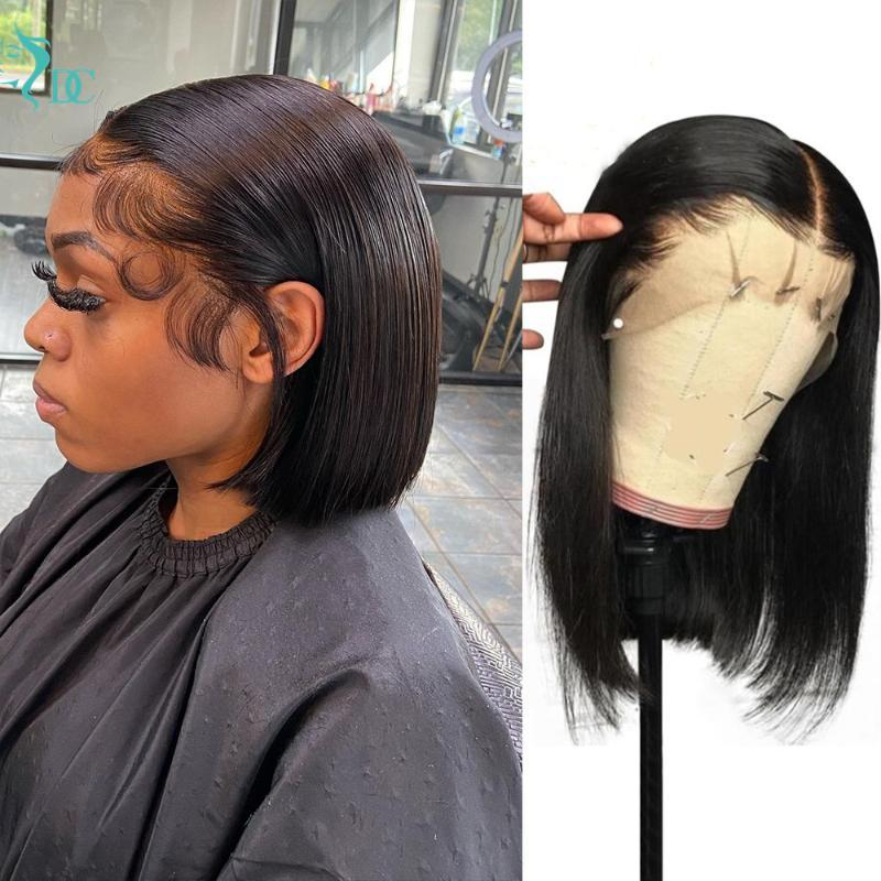 Lace Wigs Short Bob Wig Straight Front Human Hair Brazilian 13x4 Bone 4x4 Closure For Women