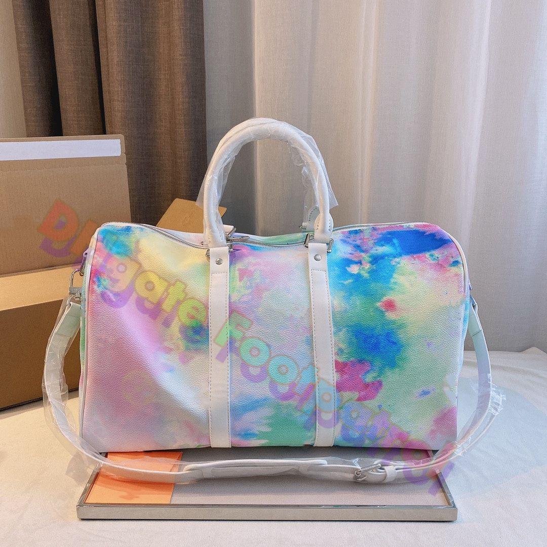 2021 Klasik Çapraz Vücut Moda Seyahat Çantaları Bayan Baskılı Tote Çanta Luxurys Tasarımcılar Çanta Deri Omuz Çanta Yüksek Kaliteli Hobos Debriyaj Çantalar Cüzdan