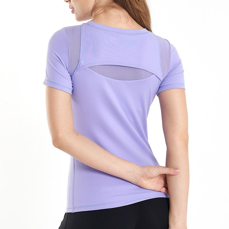 Slim 2020 Transpirable Manga corta Running Sports T-Shirt Fit Elastic Secking Chaleco Fitness Top Yoga Traje F