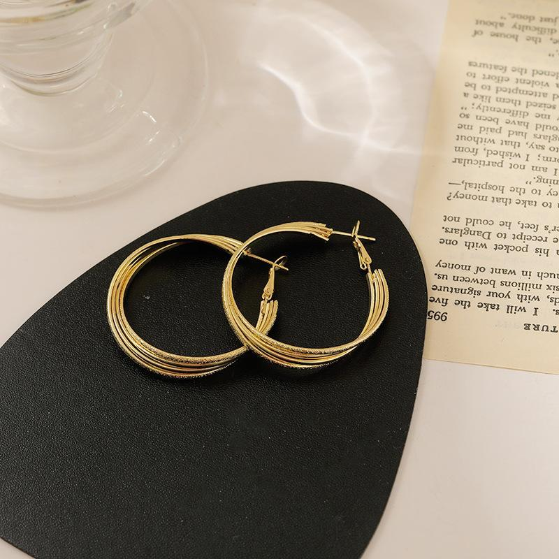 Silbernadel Koreanische Version von High-End-Groß-Ohr-Hoop-Ohrringe Trendy Nischen-Design-Mode-Accessoires Huggie