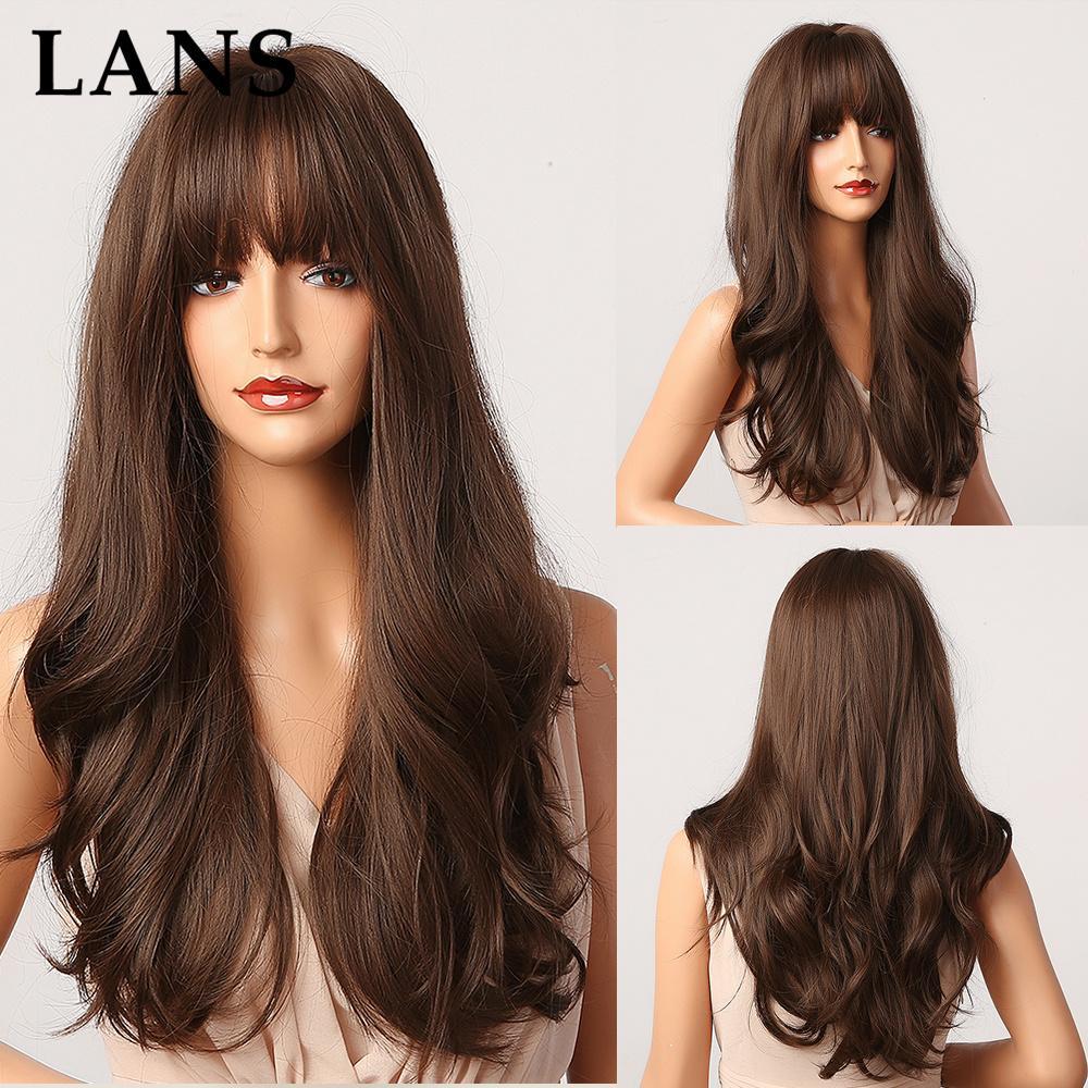 Lans Synthetic Ombre Brown 여성을위한 쾅하고 금발 머리 가발을 코스프레 내열성 섬유 자연 검은 가발