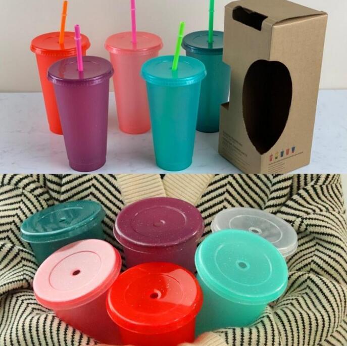 700 مل 24 أوقية البهلوانات مسحوق لامعة قابلة لإعادة الاستخدام البلاستيك بهلوان البلاستيك مع غطاء وكأس القش صديقة للبيئة غير سامة المشروبات القدح مطبخ الشرقي FY4493