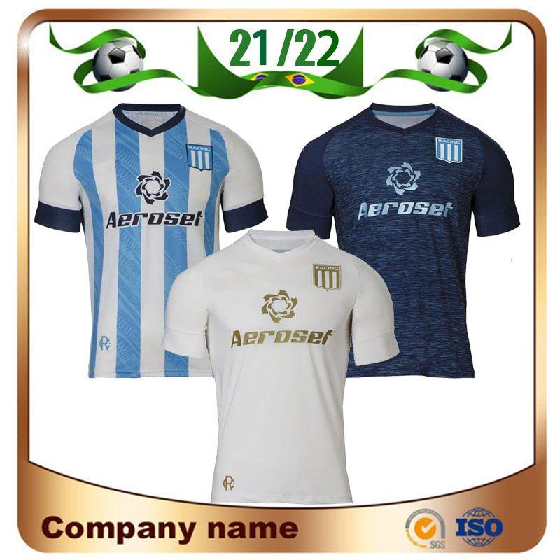 2021 Racing Club de Avellaneda Casa Jerseys 21/22 Fora Churry Rojas Lisandro Solari Camiseta Ferteoli Cvitanich Miranda Futebol Uniforme