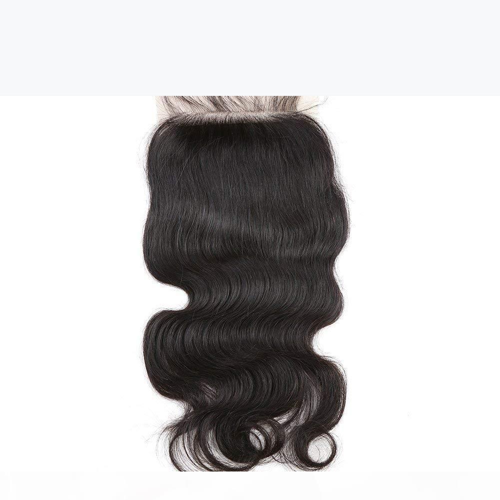 Seide Basis Spitze Verschlüsse Körperwelle Brasilianische Jungfrau Unverarbeitetes menschliches Haar webt Verschluß mit Baby-Haarstücken Natürliche Farbe Bellahair