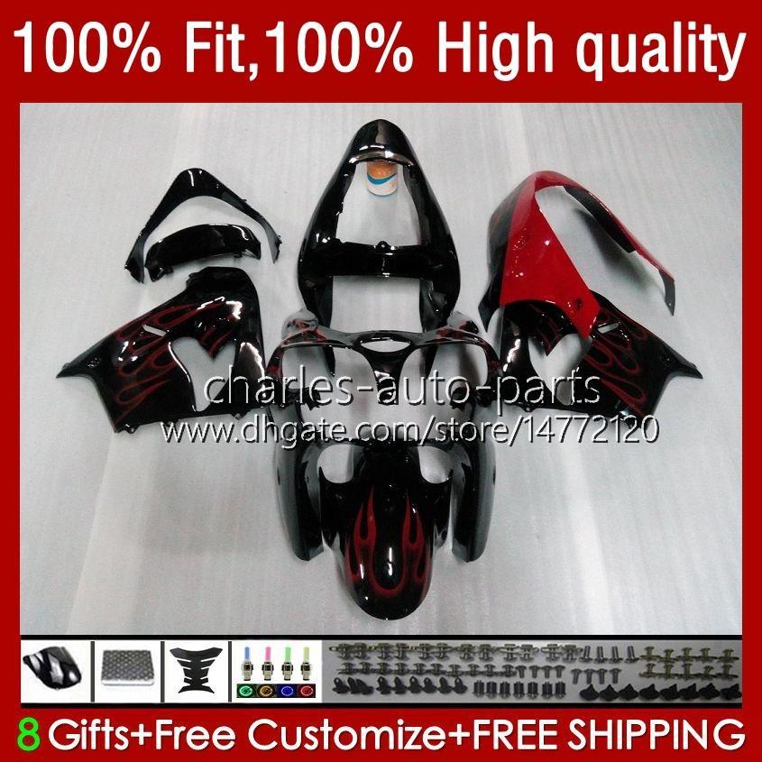 Kropp för Kawasaki ZX900CC ZX900 ZX9 R ZX9R 00 01 02 03 56HC.3 ZX 9R 9 R 900 900CC ZX-9R Red Flames NEW 2000 2001 2002 2003 Full Fairings Kit