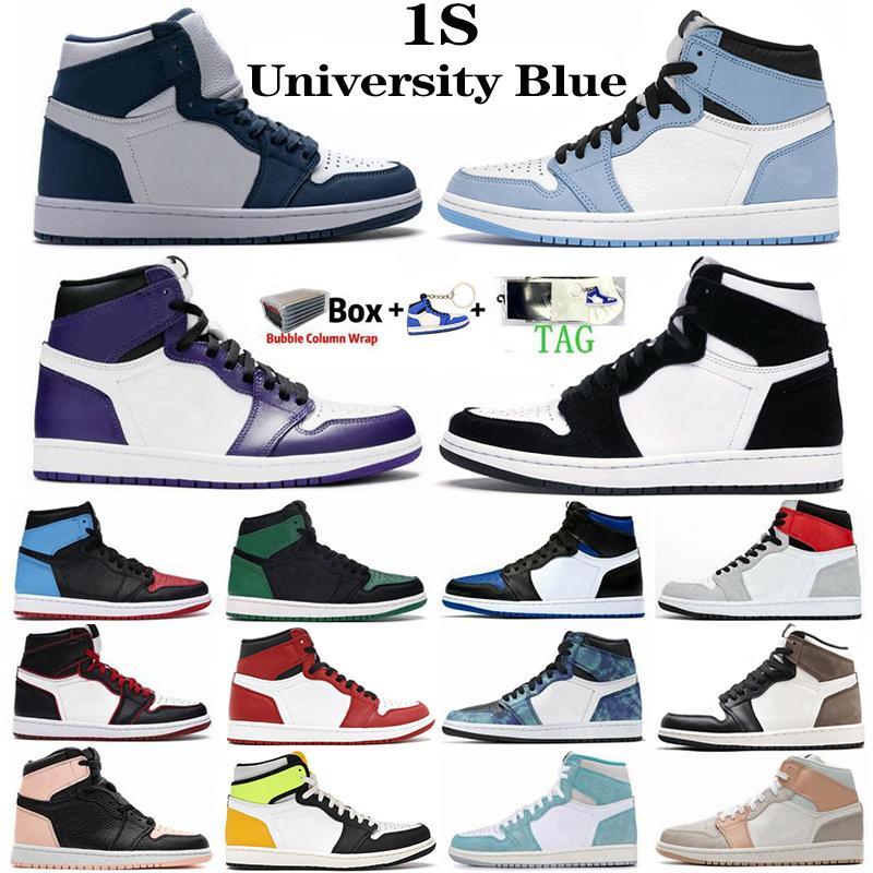 1 1 S Erkek Kadın Basketbol Ayakkabıları Üniversitesi Mavi Twist Bio Hack Kraliyet Toe Mahkemesi Mor Obsidiyen UNC Tie Boya Şans Yeşil Spor Sneakers